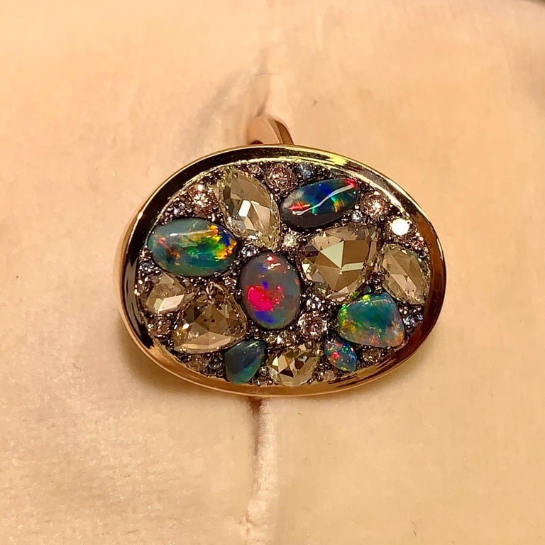 Rose Cut Black Opal, Rose-Cut and Fancy Pink Diamond, Unheated Blue Sapphire Pave Ring For Sale