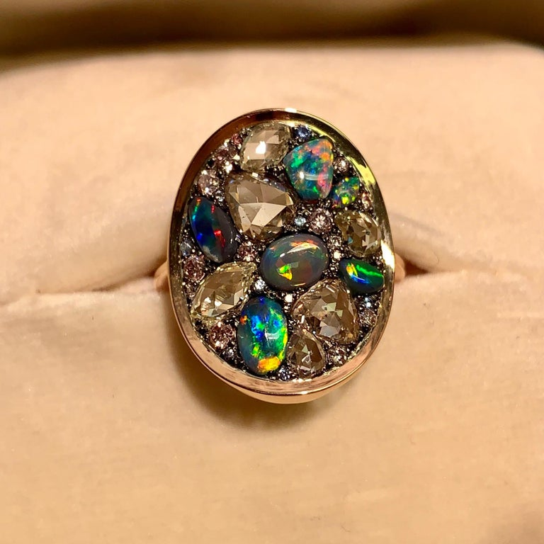 Black Opal, Rose-Cut and Fancy Pink Diamond, Unheated Blue Sapphire Pave Ring In New Condition For Sale In Antwerp, BE