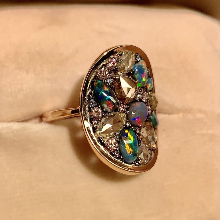 Women's Black Opal, Rose-Cut and Fancy Pink Diamond, Unheated Blue Sapphire Pave Ring For Sale