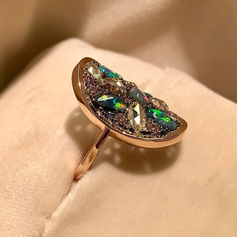 Black Opal, Rose-Cut and Fancy Pink Diamond, Unheated Blue Sapphire Pave Ring For Sale 1