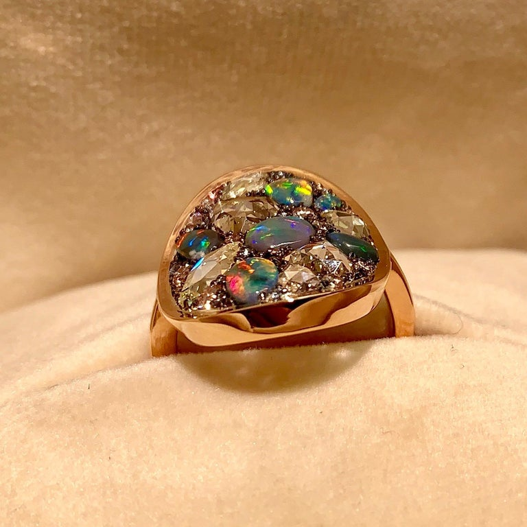 Black Opal, Rose-Cut and Fancy Pink Diamond, Unheated Blue Sapphire Pave Ring For Sale 3