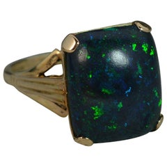 Black Opal Solitaire 9 Carat Gold Ring