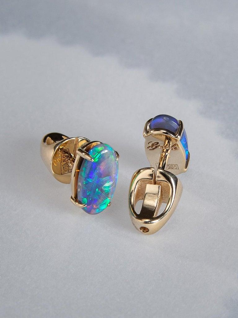 Cabochon Black Opal Stud Earrings Gold Rainbow Australian Opal Unisex Men's Jewelry Gift For Sale