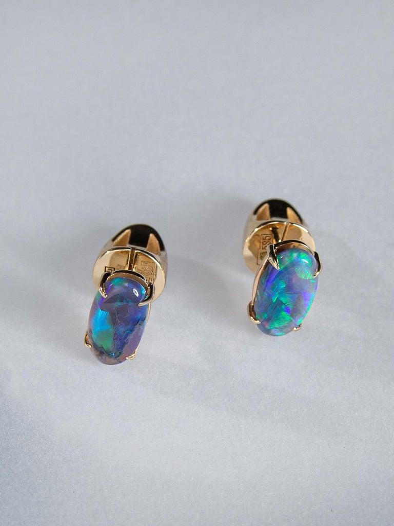 Black Opal Stud Earrings Gold Rainbow Australian Opal Unisex Men's Jewelry Gift In New Condition For Sale In Berlin, DE