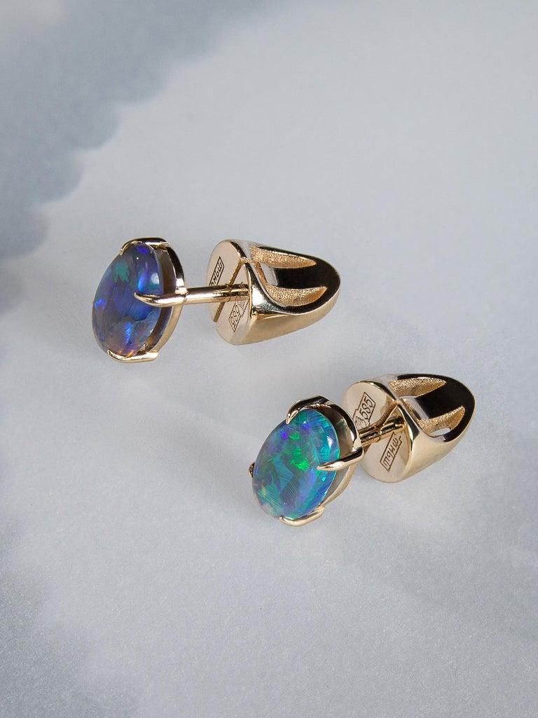 Women's or Men's Black Opal Stud Earrings Gold Rainbow Australian Opal Unisex Men's Jewelry Gift For Sale