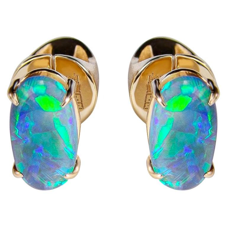 Black Opal Stud Earrings Gold Rainbow Australian Opal Unisex Men's Jewelry Gift For Sale