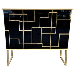 Black Opaline Glass Big Cabinet with Brass and Gold opaline Glass Inserts, 1960s