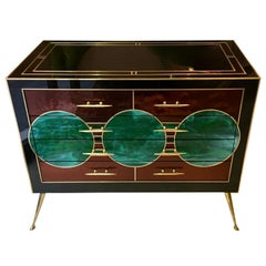 Black Opaline Glass Chest of Drawers with Brass Inlays Green Circles, 1970s
