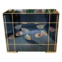 Black Opaline Glass Credenza with Glass Poppies, Bamboo Brass Frames, 1980s
