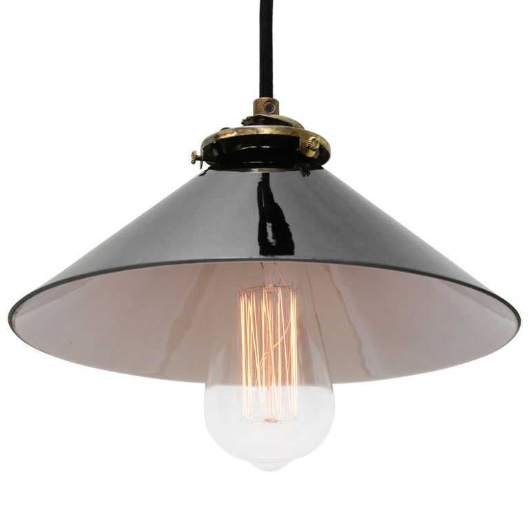 French opaline glass Industrial pendant. Excluding light bulb.  Measure: Weight 0.7 kg / 1.5 lb  Priced per individual item. All lamps have been made suitable by international standards for incandescent light bulbs, energy-efficient and LED