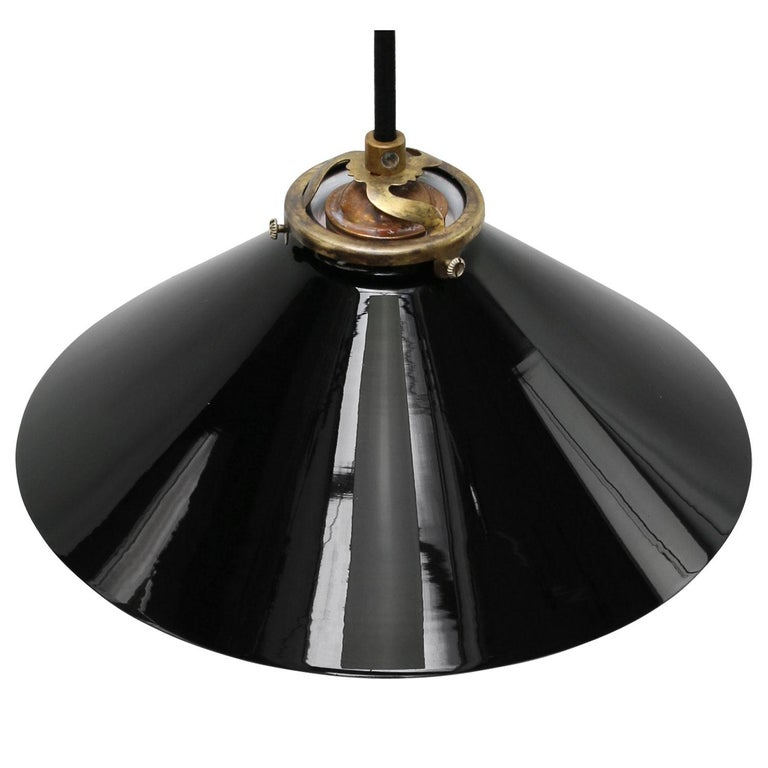 Industrial Black Opaline Glass French Brass Pendant Lights For Sale