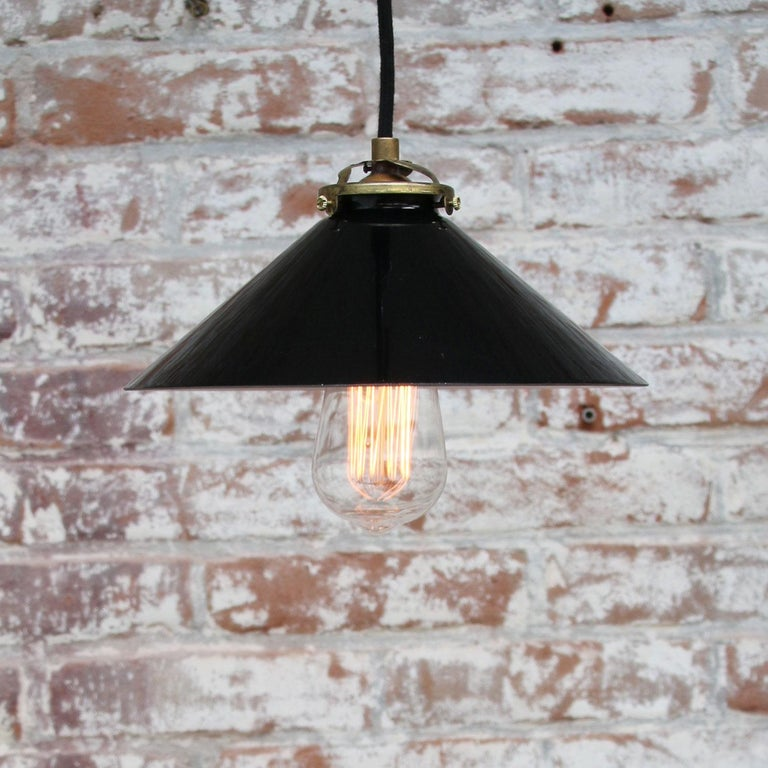 Black Opaline Glass French Brass Pendant Lights For Sale 1