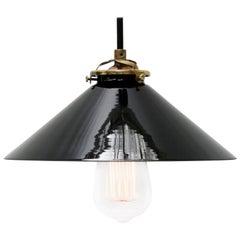 Black Opaline Glass French Brass Pendant Lights