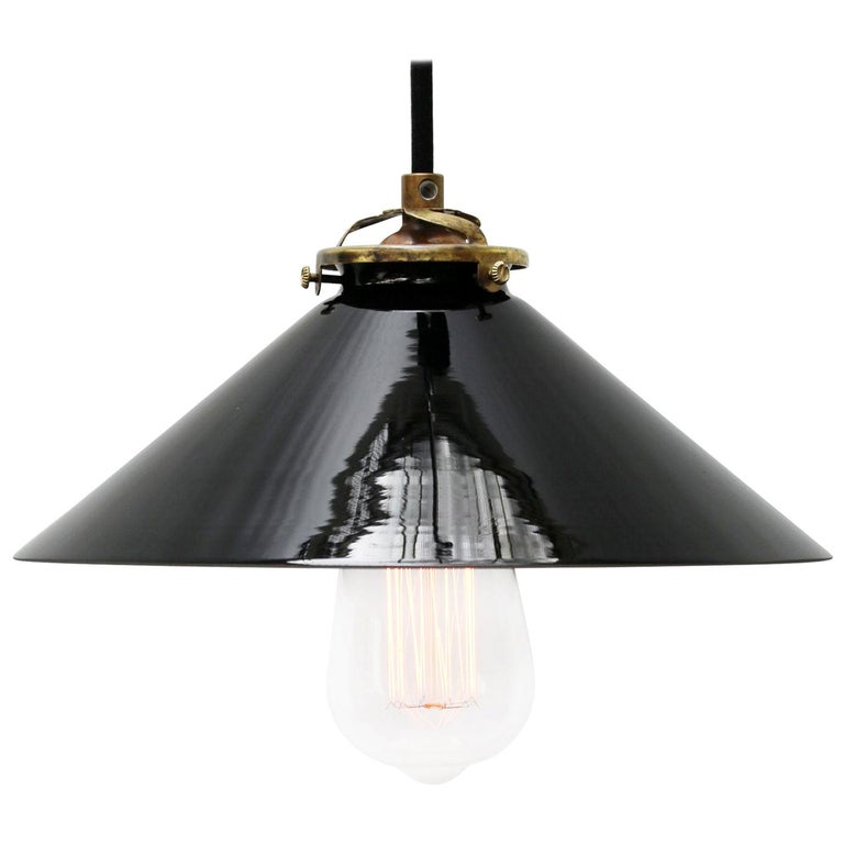 Black Opaline Glass French Brass Pendant Lights For Sale