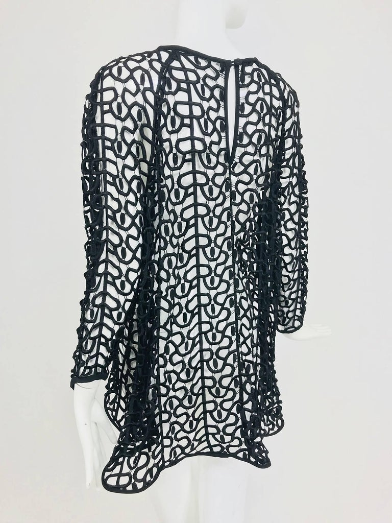 Black open work embroidered top For Sale 2