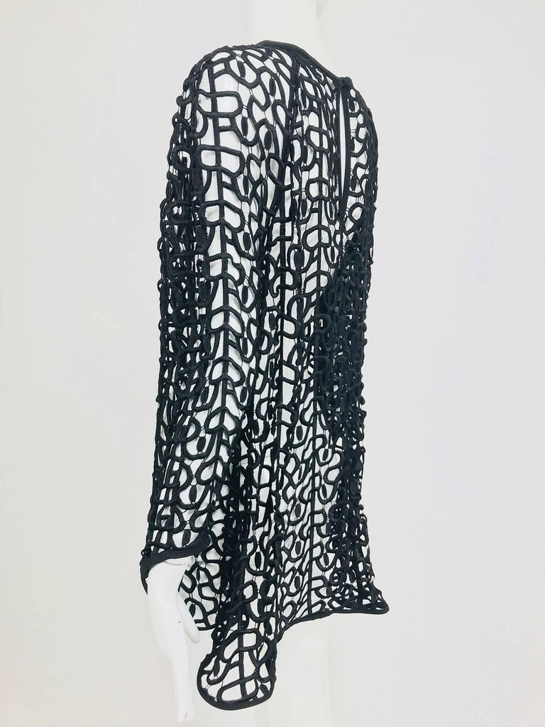 Black open work embroidered top For Sale 3