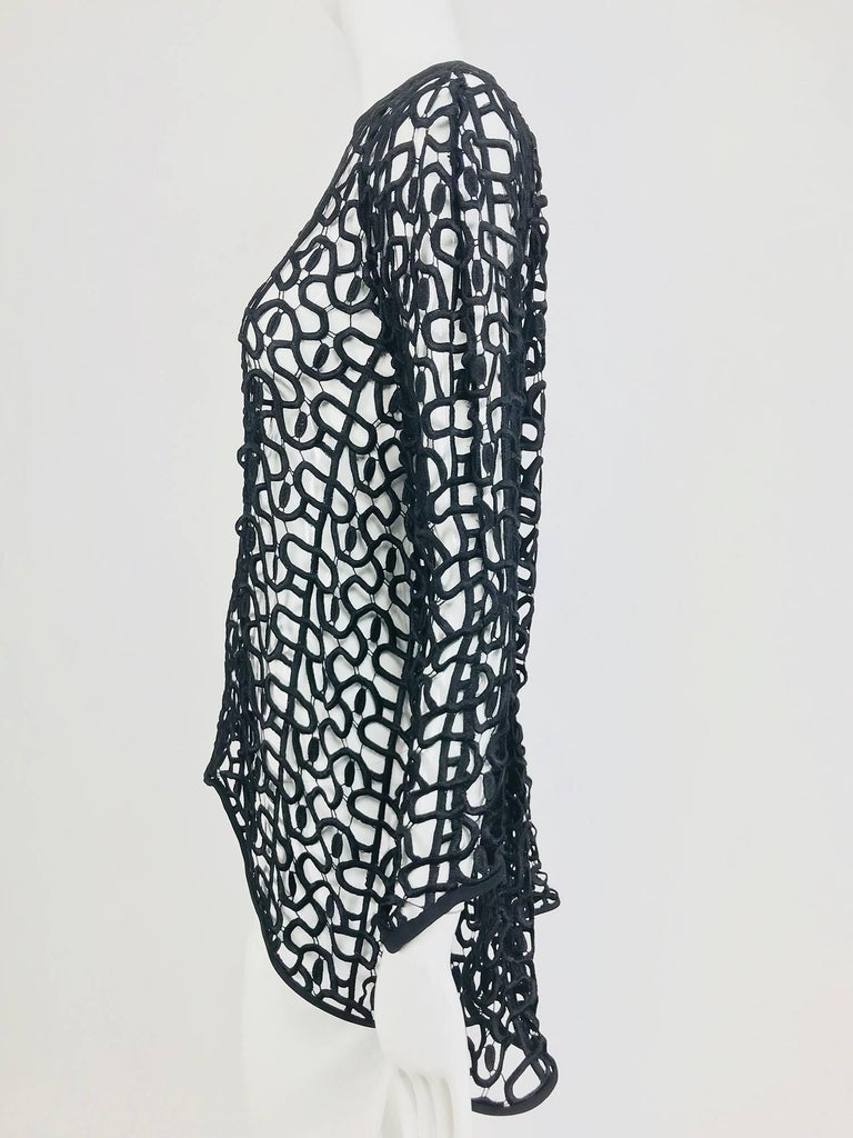 Black open work embroidered top For Sale 4