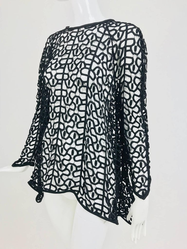 Black open work embroidered top For Sale 5