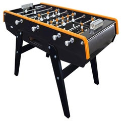Black and Orange Beechwood Foosball Table with Aluminium Handles, Made in France