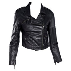 Black Oscar de la Renta Leather Cropped Jacket
