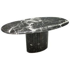 Black Oval Marble Dining Table, Italy, 1970s