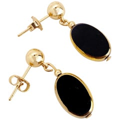 Black Oval Vintage German Glass Beads edged with 24K gold Earrings