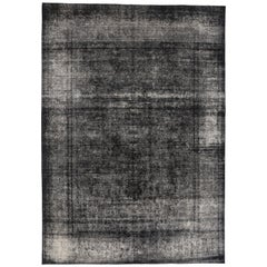 Black Overdyed Distressed Vintage Turkish Rug with Modern Industrial Luxe Style