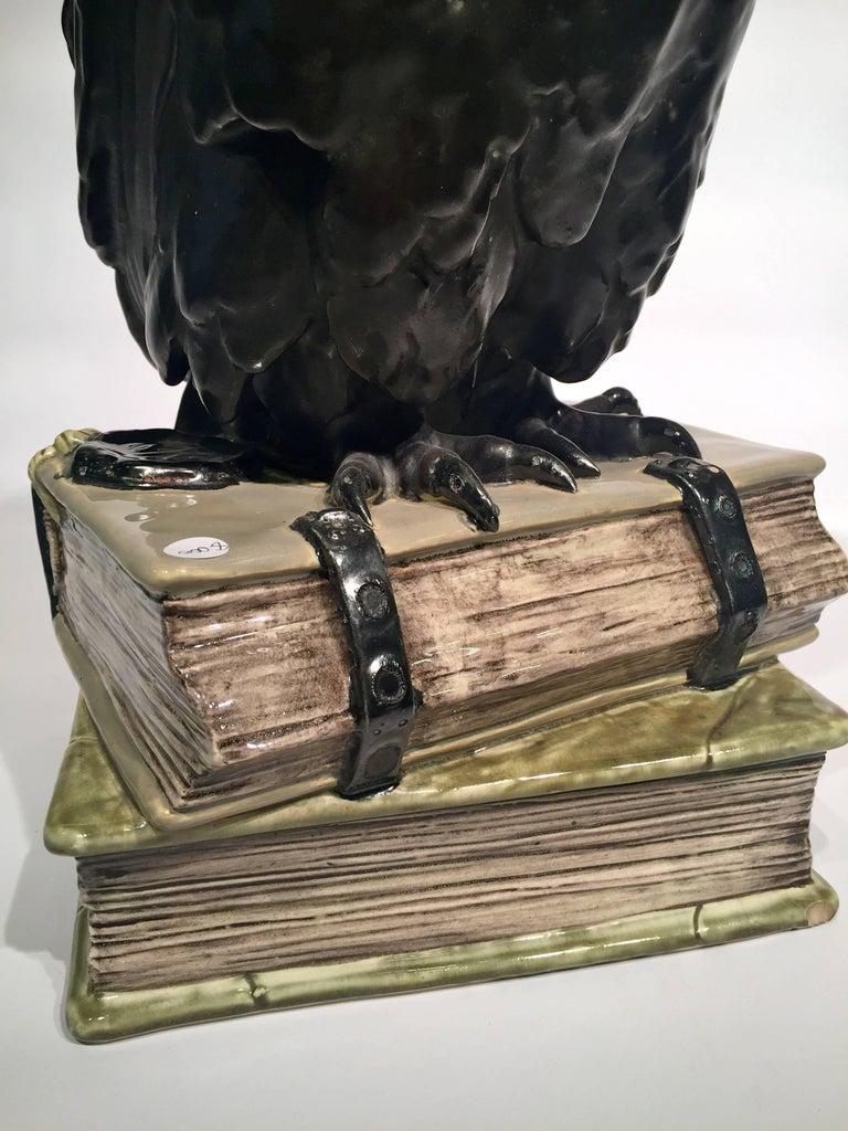 French Black Owl on Books USA Art Nouveau Porcelain, circa 1900 For Sale