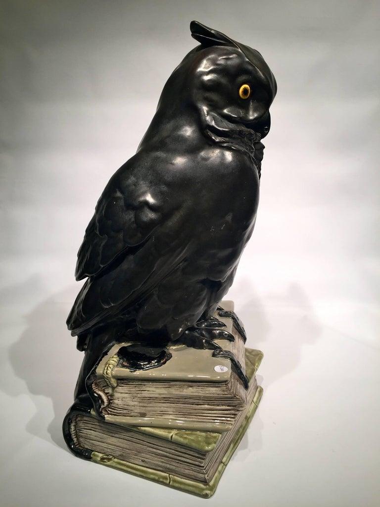 Black Owl on Books USA Art Nouveau Porcelain, circa 1900 In Excellent Condition For Sale In Rio de Janeiro, RJ