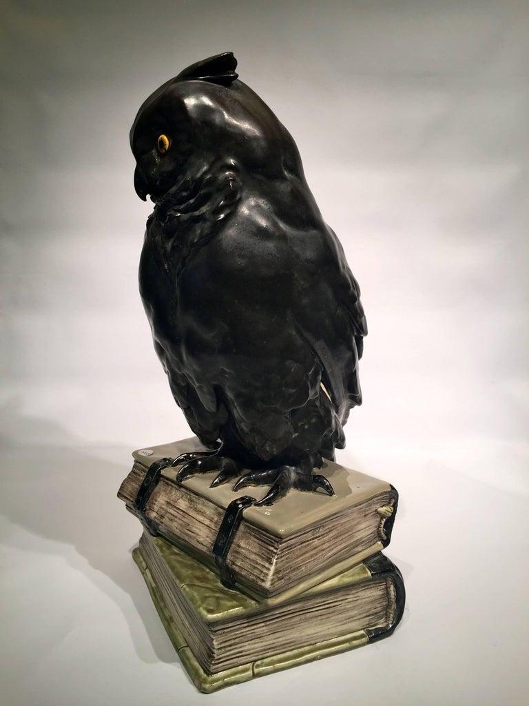 Black Owl on Books USA Art Nouveau Porcelain, circa 1900 For Sale 1