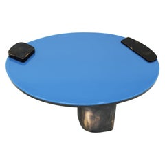 Black Oxidized Copper Base Oval Low Coffee Table with Blue Pigment Resin Top