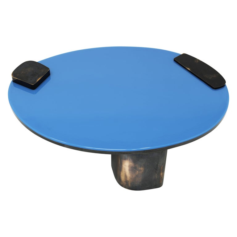Modern Black Oxidized Copper Base Oval Low Coffee Table with Blue Pigment Resin Top For Sale