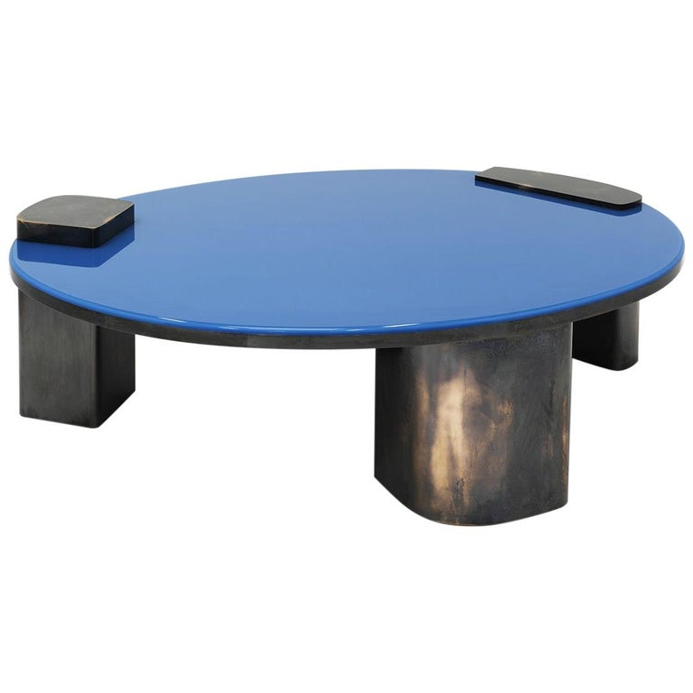 Black Oxidized Copper Base Oval Low Coffee Table with Blue Pigment Resin Top For Sale