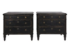 Black Painted Gustavian Dresser