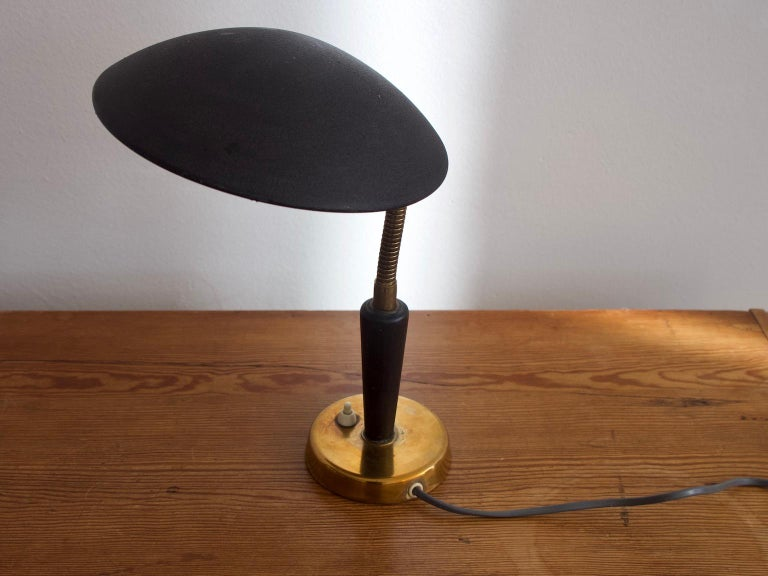 Black Painted Metal and Brass Table Lamp by Nordiska Kompaniet For Sale 1