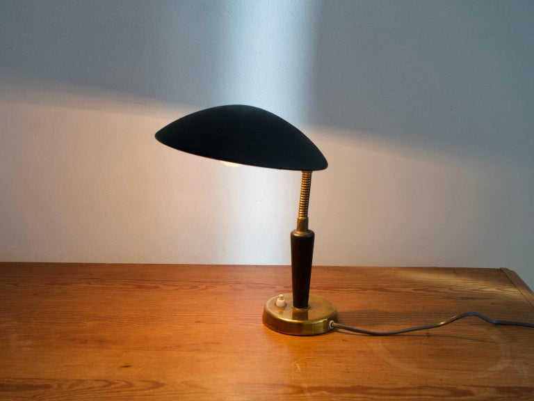 Black Painted Metal and Brass Table Lamp by Nordiska Kompaniet For Sale 2