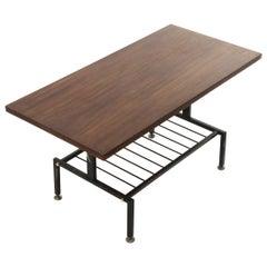 Black Painted Metal Coffee Table with Teak Top, 1950s
