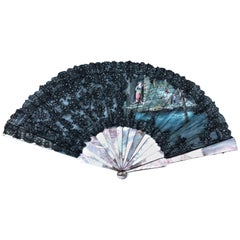 Black Painted Mother-of-Pearl Romantic Scene Fan
