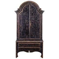 Black Painted Rococo Swedish Cabinet