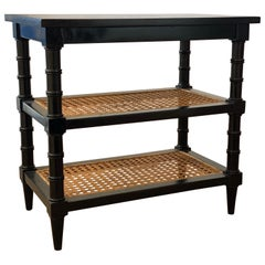 Black Painted Telephone End Table with Caned Shelves