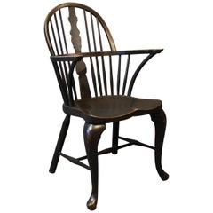 Black Painted Windsor Armchair in Wood from the 1880s
