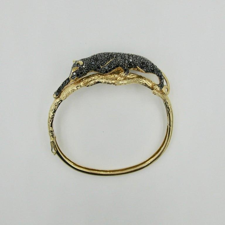 Black Panther Leopard Bracelet Black Diamond 14 Karat Gold For Sale 5