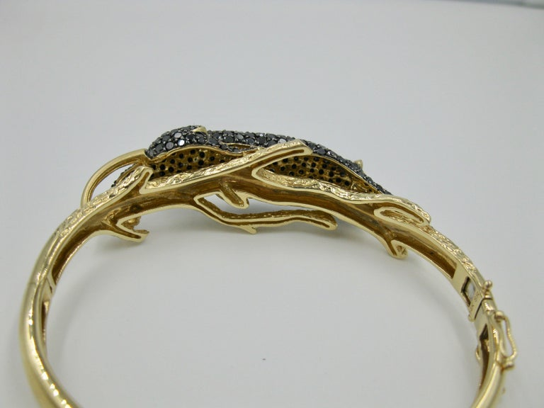 Black Panther Leopard Bracelet Black Diamond 14 Karat Gold For Sale 6