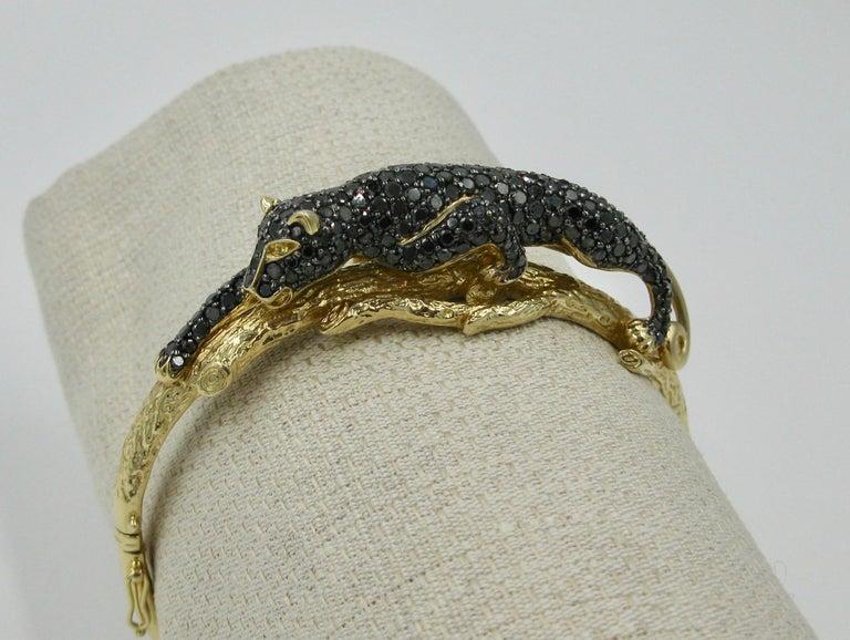 Black Panther Leopard Bracelet Black Diamond 14 Karat Gold For Sale 7