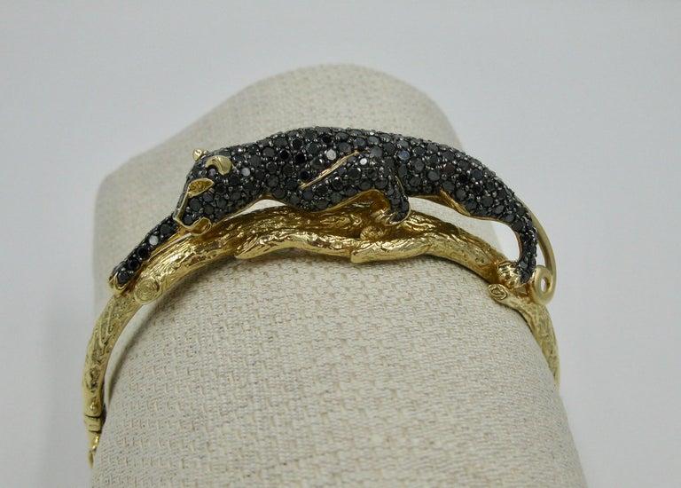 Black Panther Leopard Bracelet Black Diamond 14 Karat Gold For Sale 8
