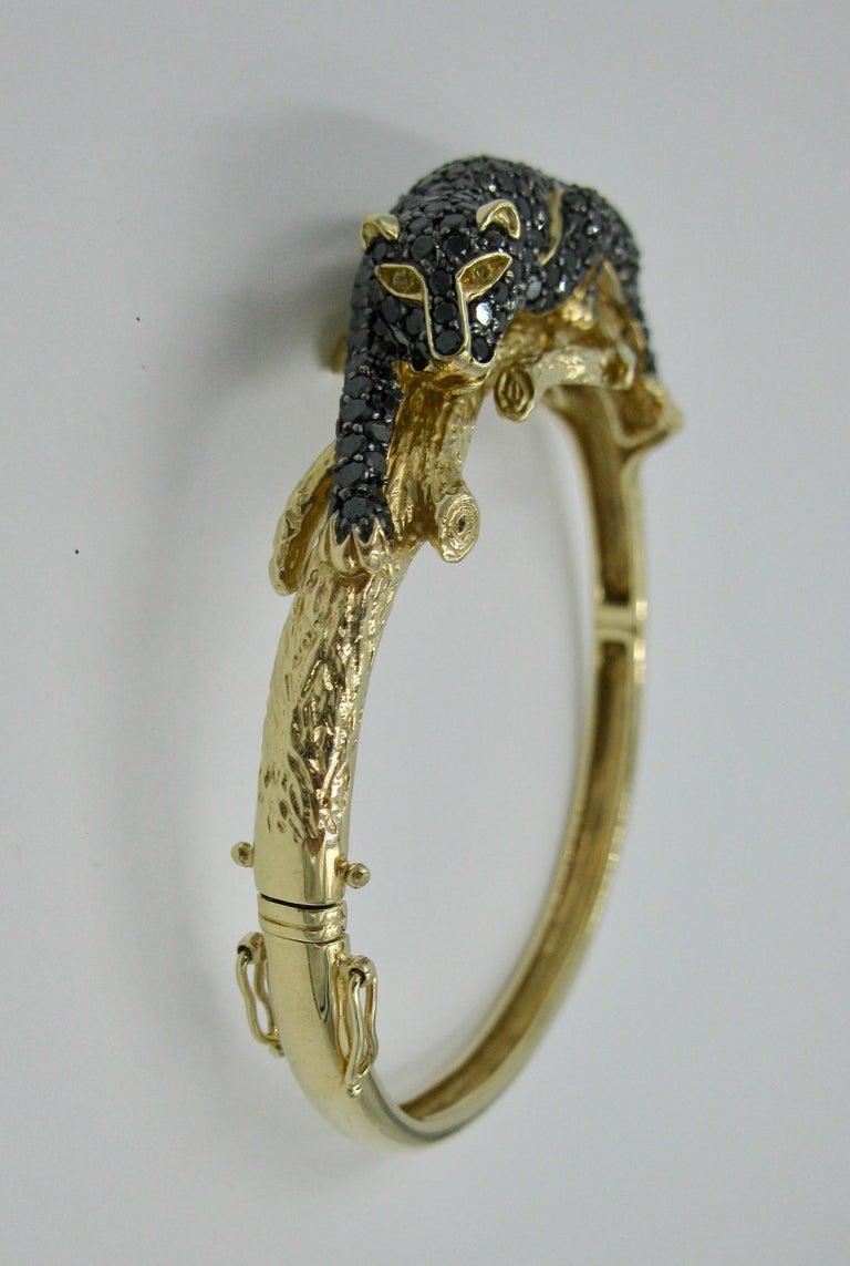 Black Panther Leopard Bracelet Black Diamond 14 Karat Gold In Good Condition For Sale In New York, NY