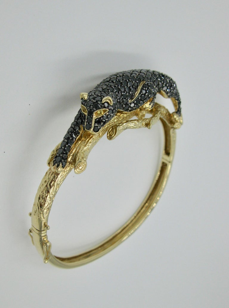 Black Panther Leopard Bracelet Black Diamond 14 Karat Gold For Sale 1