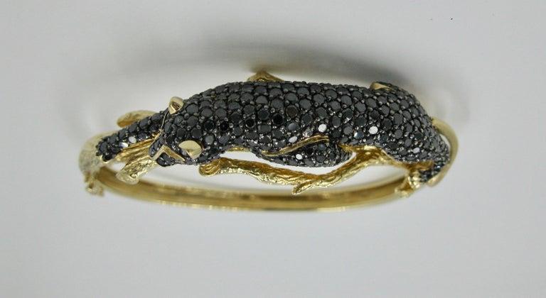 Black Panther Leopard Bracelet Black Diamond 14 Karat Gold For Sale 2