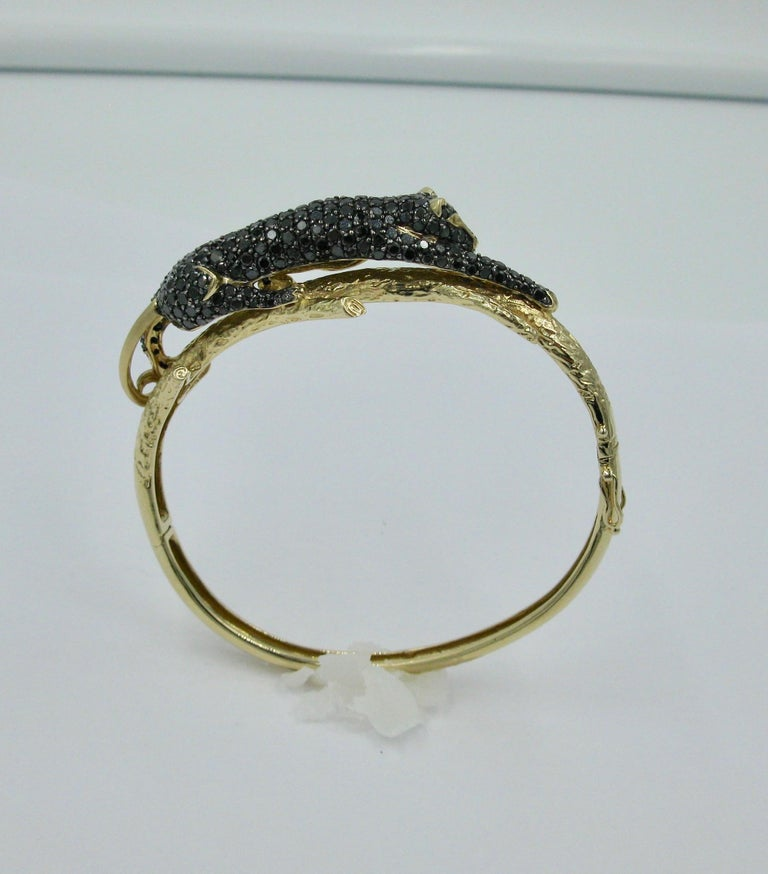 Black Panther Leopard Bracelet Black Diamond 14 Karat Gold For Sale 3