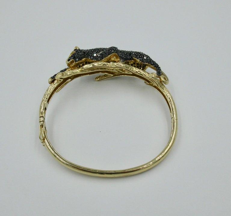 Black Panther Leopard Bracelet Black Diamond 14 Karat Gold For Sale 4